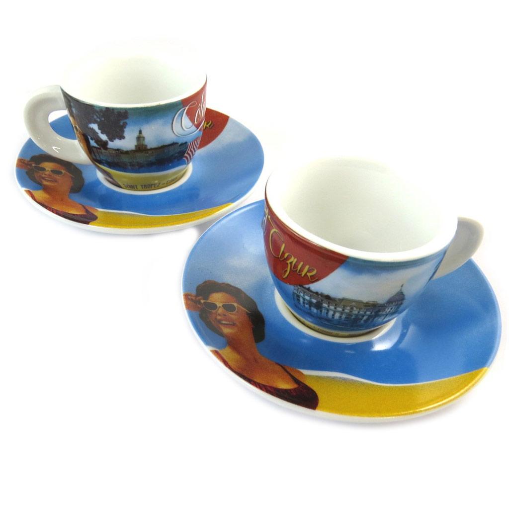 Coffret 2 tasses à café \'Côte d\'Azur\' jaune bleu (vintage) - 5x6 cm - [N9708]
