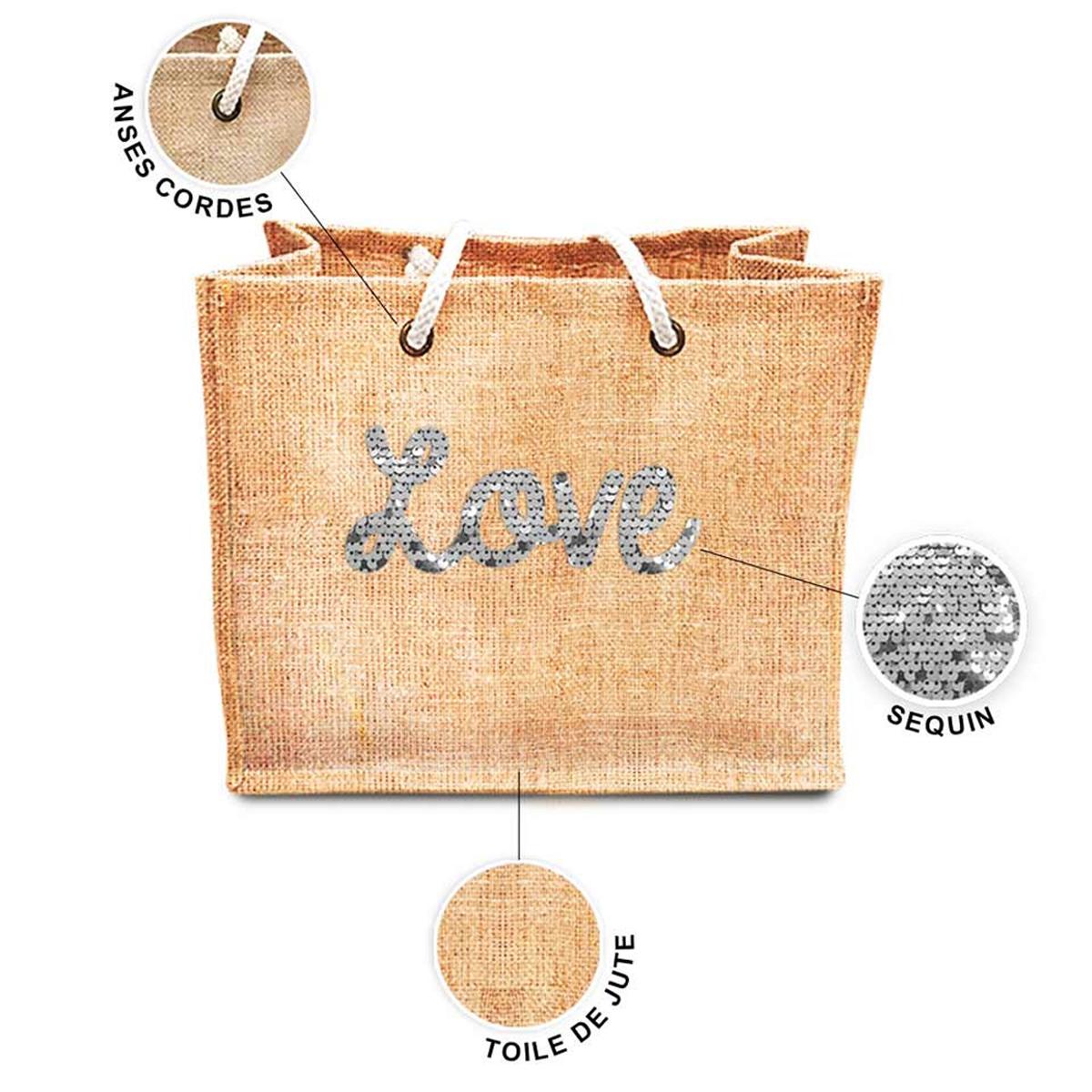 Sac shopping \'Love\' beige blanc (jute) - 42x345x185 cm - [P8787]