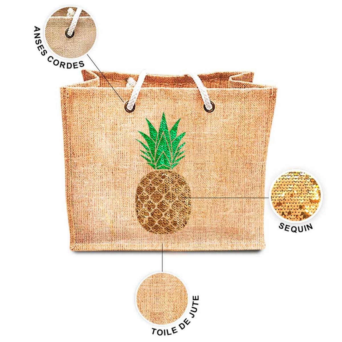 Sac shopping \'Ananas\' beige doré vert (jute) - 42x345x185 cm - [P8788]