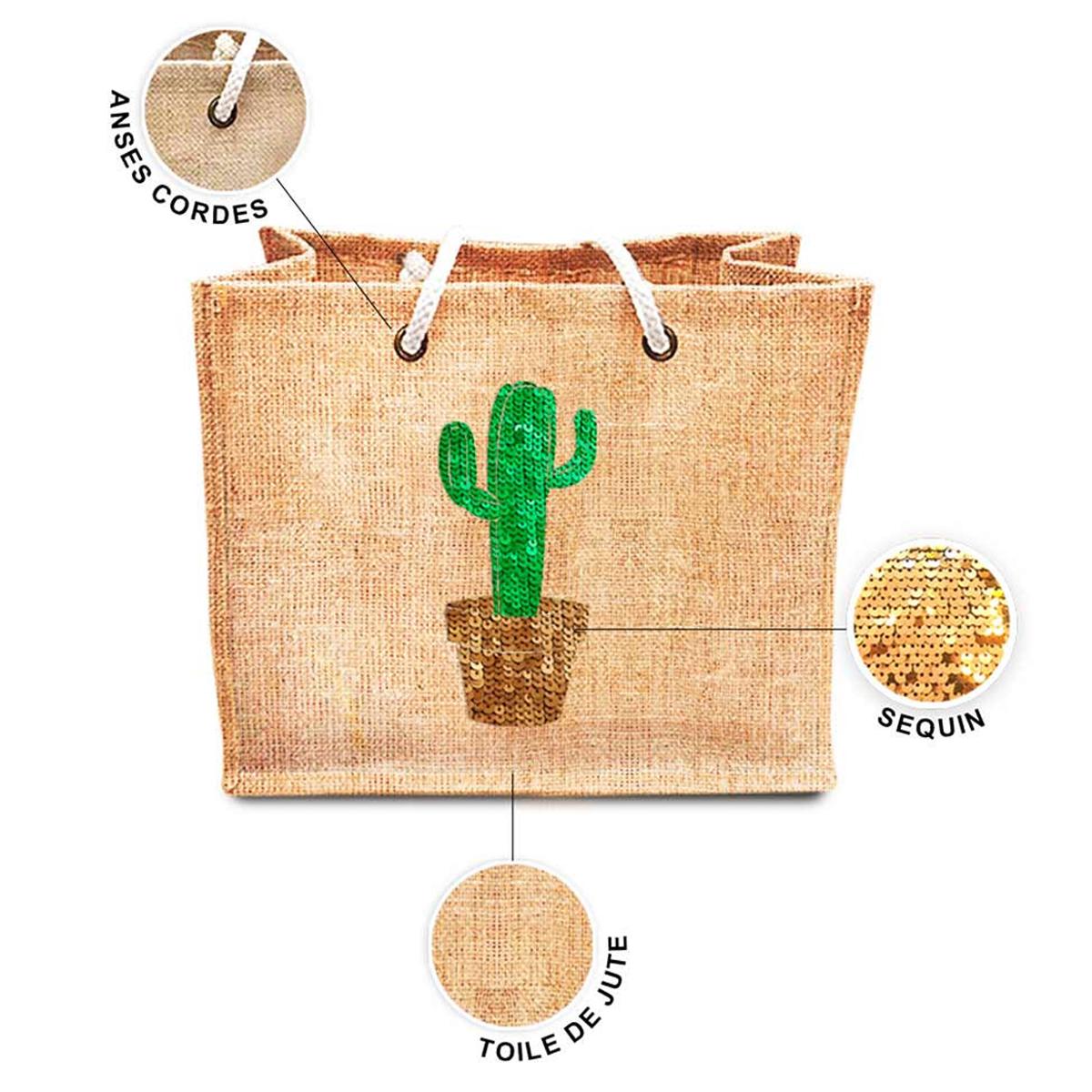 Sac shopping \'Cactus\' beige doré vert (jute) - 42x345x185 cm - [P8790]