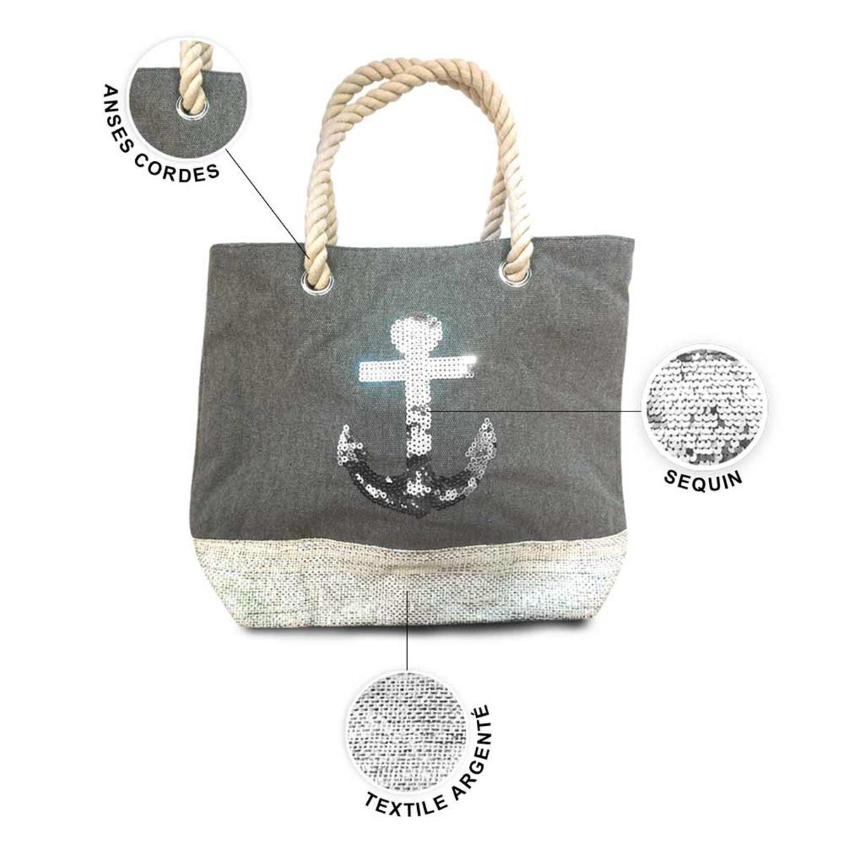 Sac toile \'Ancre Marine\' gris argenté - 40x305x145 cm - [P9016]