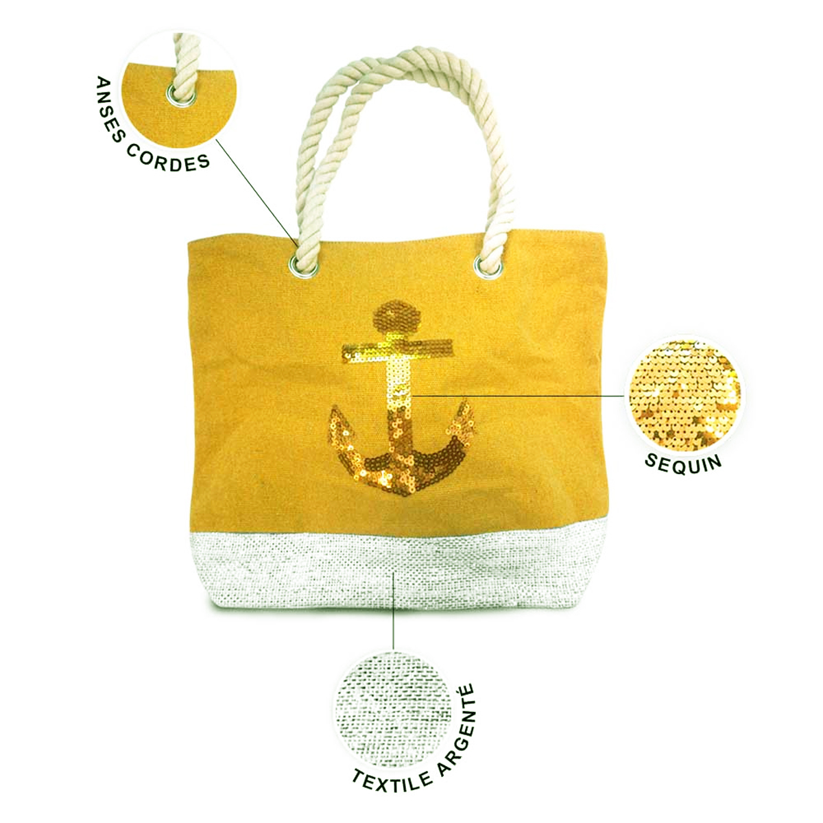 Sac toile \'Ancre Marine\' jaune doré - 40x305x145 cm - [P9017]
