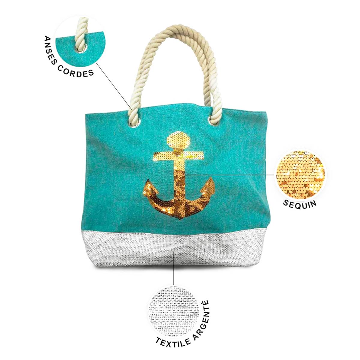 Sac toile \'Ancre Marine\' turquoise doré - 40x305x145 cm - [P9018]