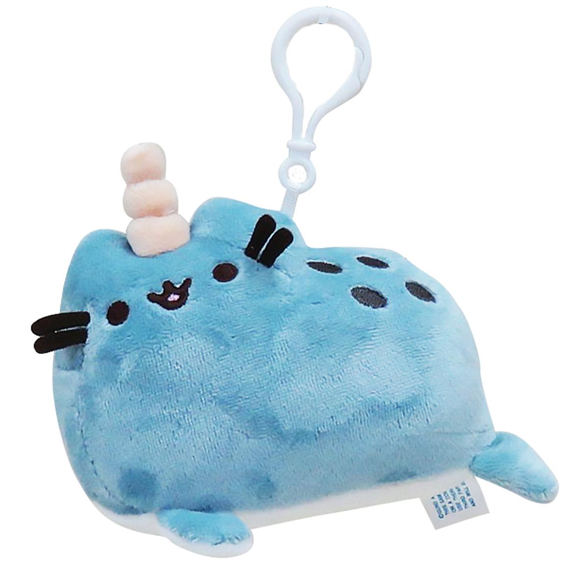 Peluche mousqueton \'Pusheen\' (balein unicorn) bleu - 9 cm - [Q1861]