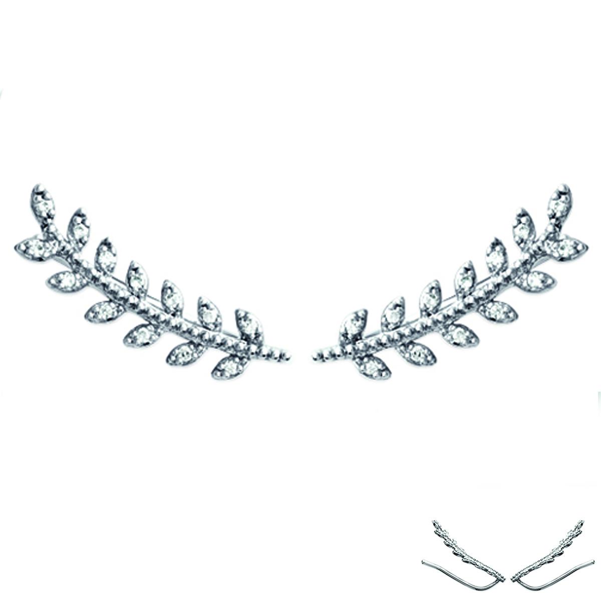 Boucles contours d\'oreilles argent \'Epi de blé\' blanc argenté (rhodié) - 23x5 mm - [Q4164]