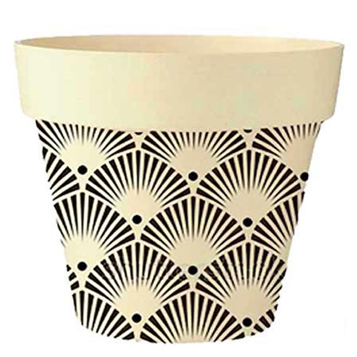 Cache-pot bambou \'Boho\' beige noir -  17x18 cm - [Q6405]