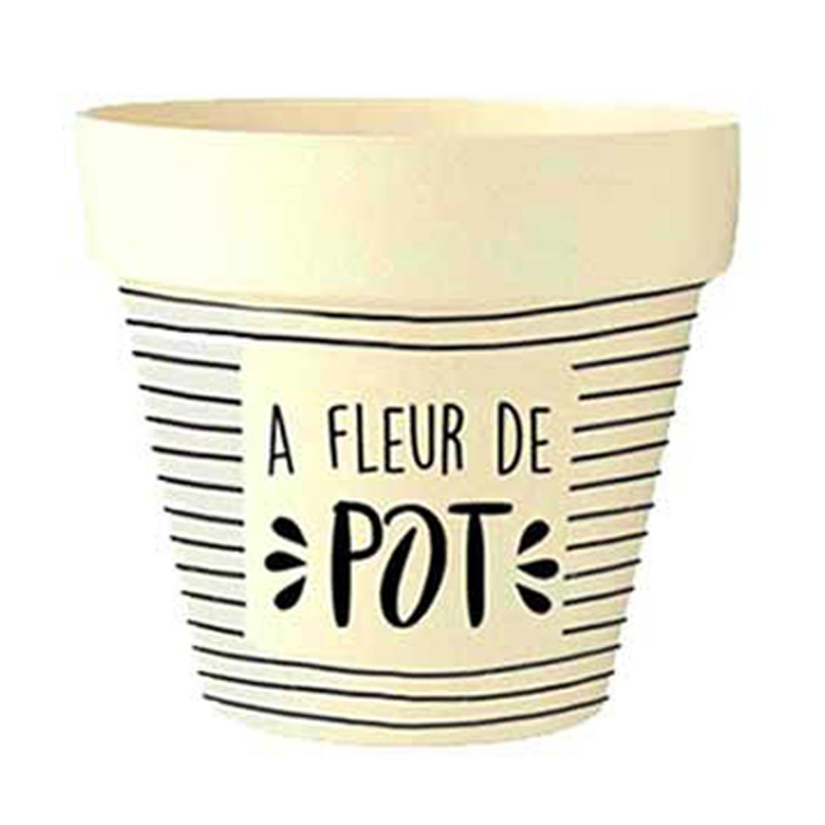 Cache-pot bambou \'Messages\' beige noir (A fleur de Pot) -  105x95 cm - [Q6406]