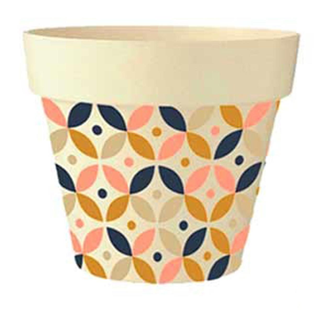 Cache-pot bambou \'Boho\' beige rose marron bleu -  105x95 cm - [Q6422]