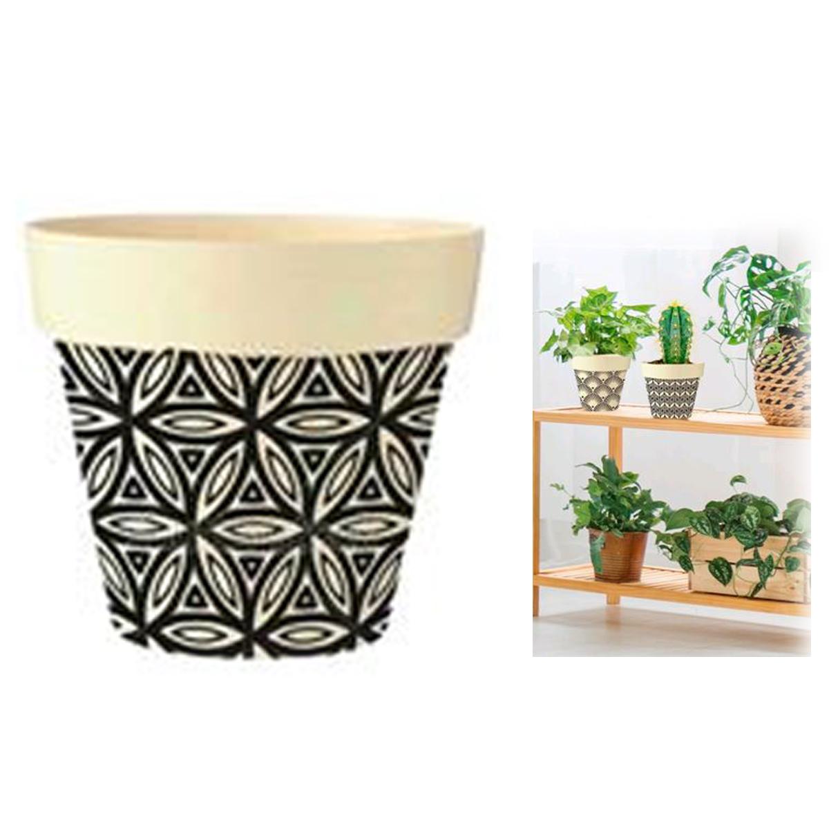 Cache-pot bambou \'Boho\' noir beige -  105x95 cm - [Q6583]