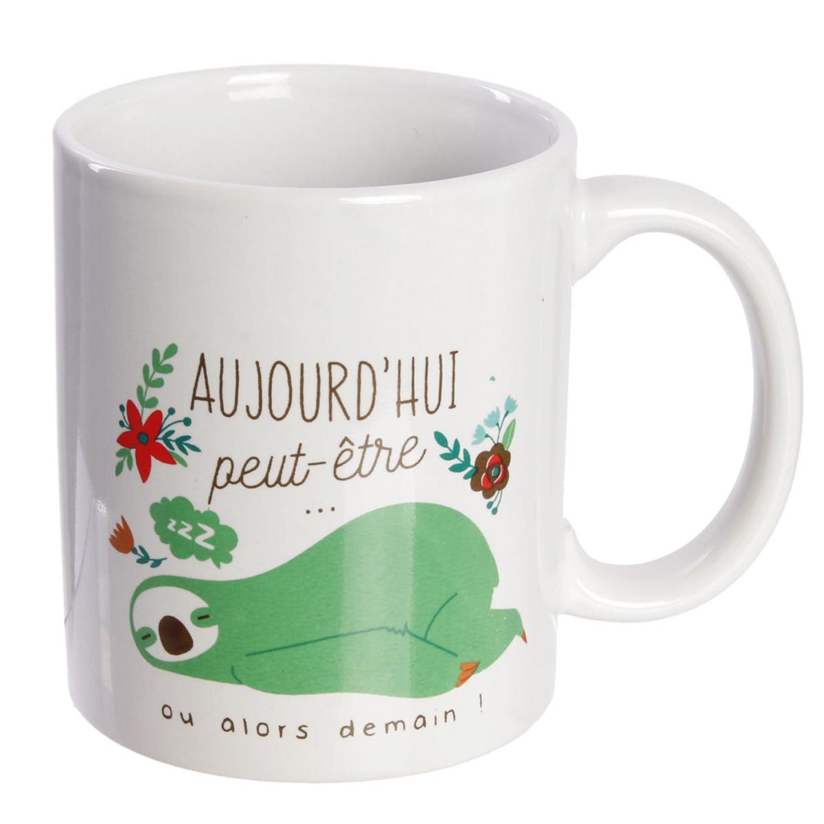 Mug céramique \'Paresseux\' vert (Aujourd\'hui peut être  ou alors demain !) - 95x80 mm - [Q8133]