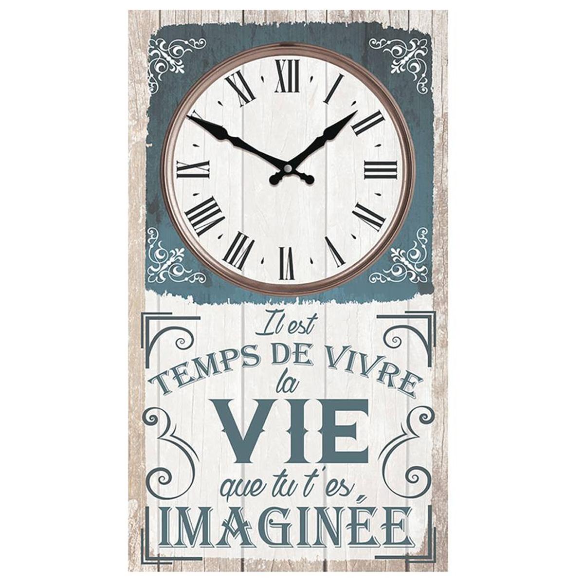 Horloge Murale \'Messages\' bleu gris (Il est temps de vivre la Vie que tu t\'es imaginée) - 49x28 cm - [Q8271]