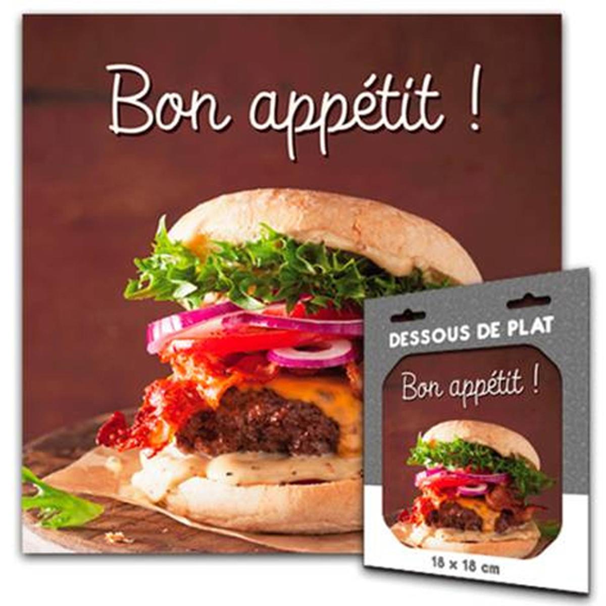 Dessous de plat \'Messages\' (Bon Appétit) - 18x18 cm - [Q8355]