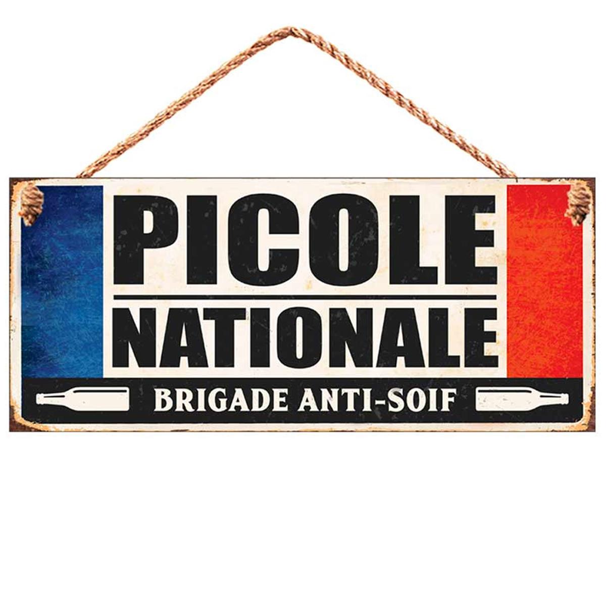 Plaque métal \'Messages\' bleu blanc rouge (Picole Nationale - brigade anti-soif ) - 30x13 cm - [R0861]