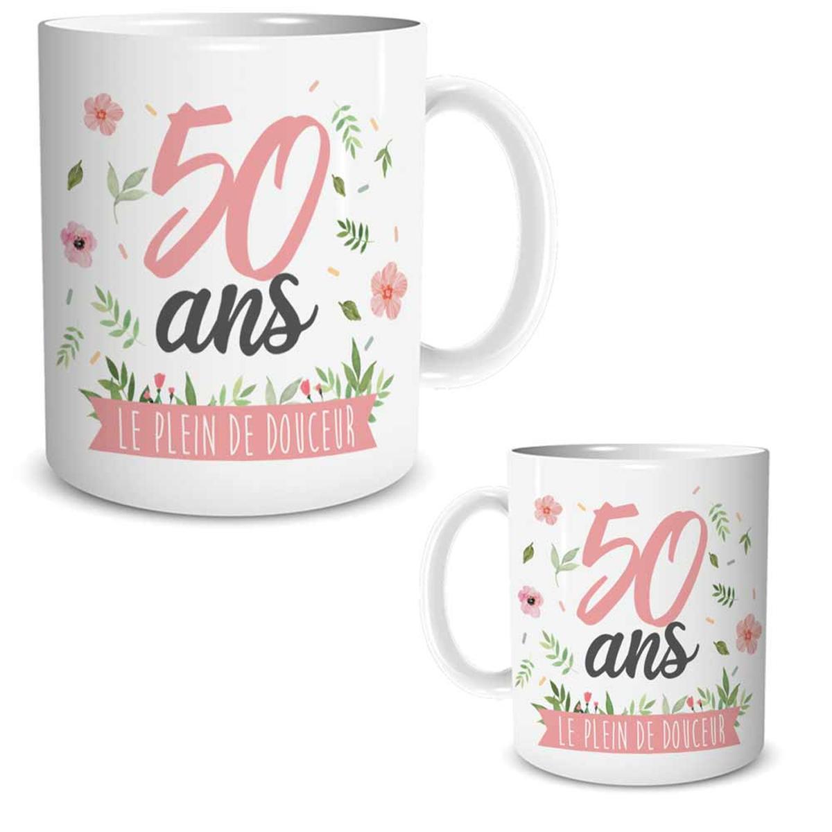 Mug céramique \'50 ans \' blanc rose (le plein de douceur) - 95x80 mm - [R1879]