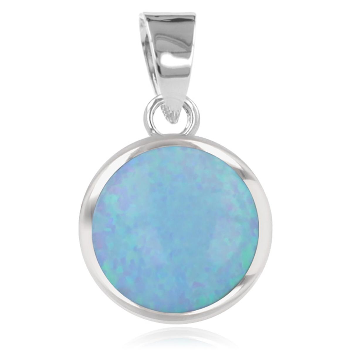 Pendentif Argent \'Déesse Opale\' bleu argenté (rhodié) - 8 mm - [R1941]