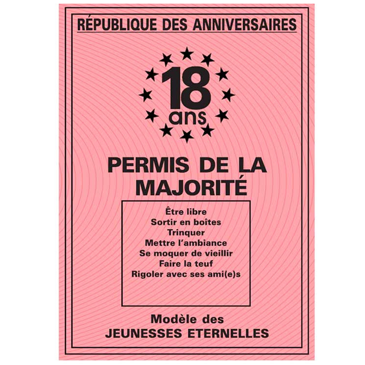Carte spéciale \'Permis de la majorité\' 18 ans - 205x145 cm - [R2160]