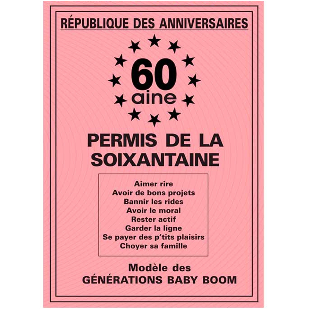 Carte spéciale \'Permis de la soixantaine\' 60 ans - 205x145 cm - [R2164]