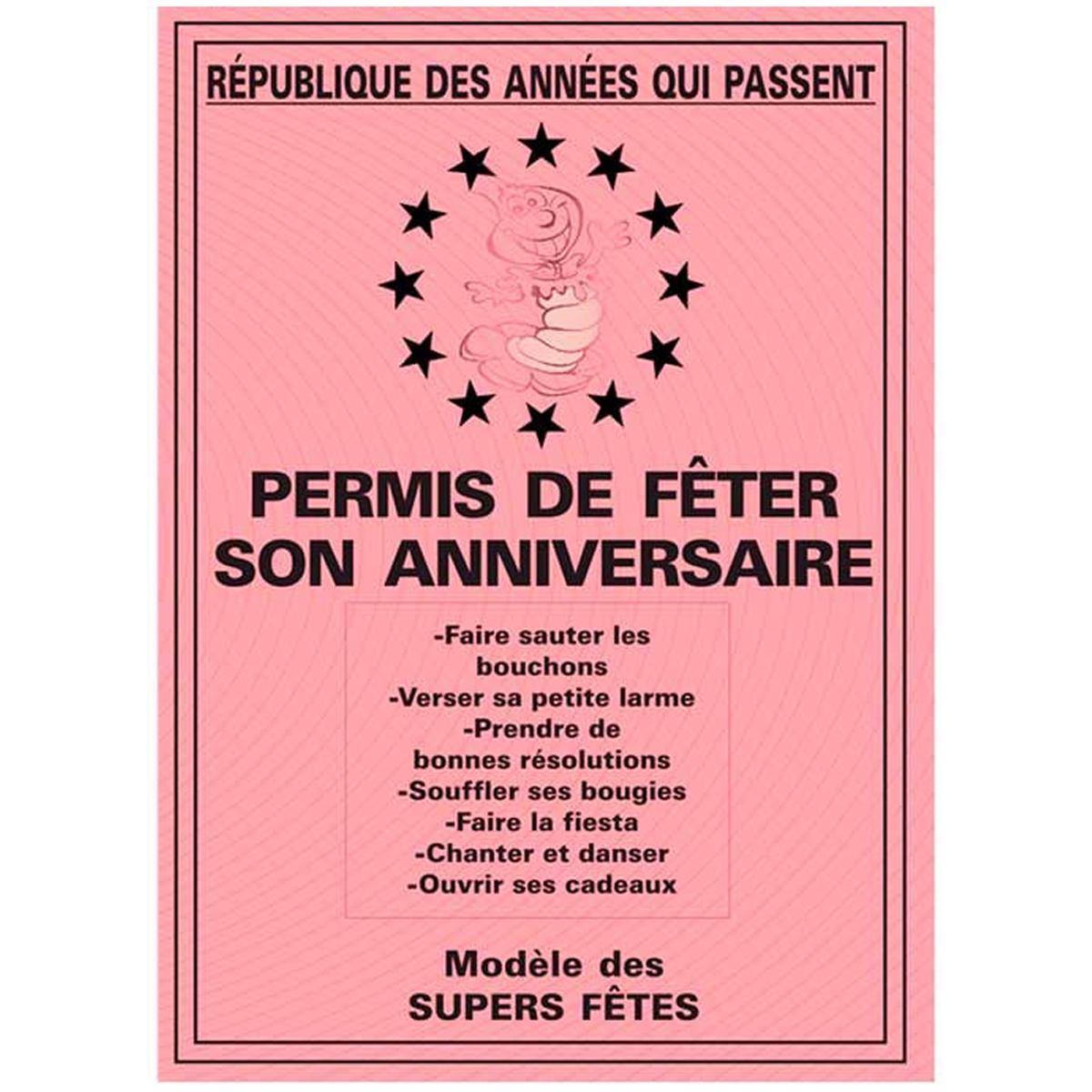 Carte spéciale \'Permis de fêter son anniversaire\' - 205x145 cm - [R2165]