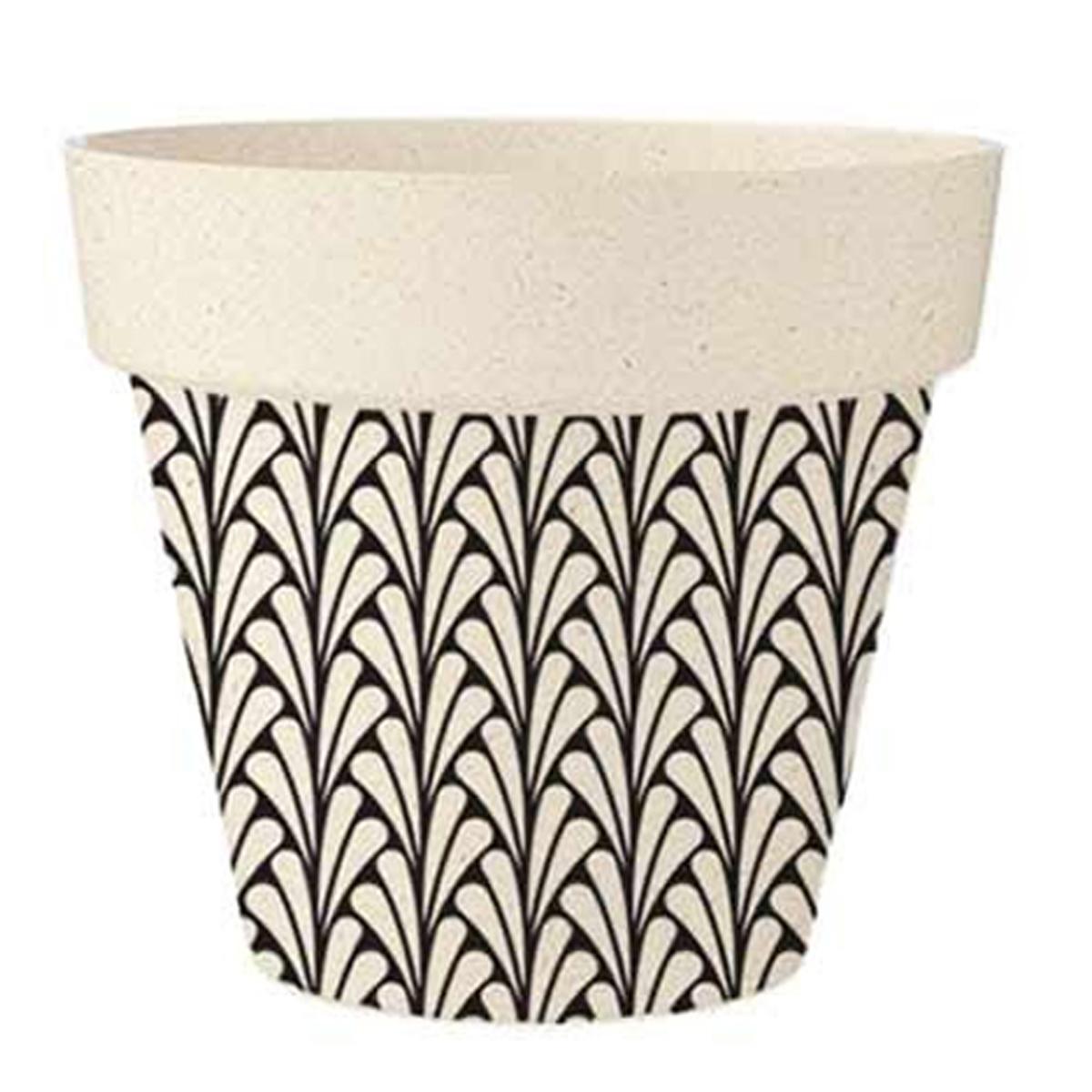 Cache-pot bambou \'Boho\' noir beige - 17x15 cm - [R2220]