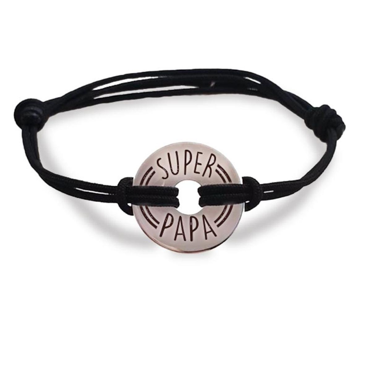 Bracelet homme \'Super Papa\' argenté - 20 mm - [R4076]