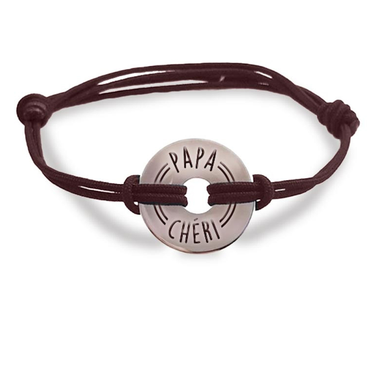 Bracelet homme \'Papa Chéri\' argenté - 20 mm - [R4077]