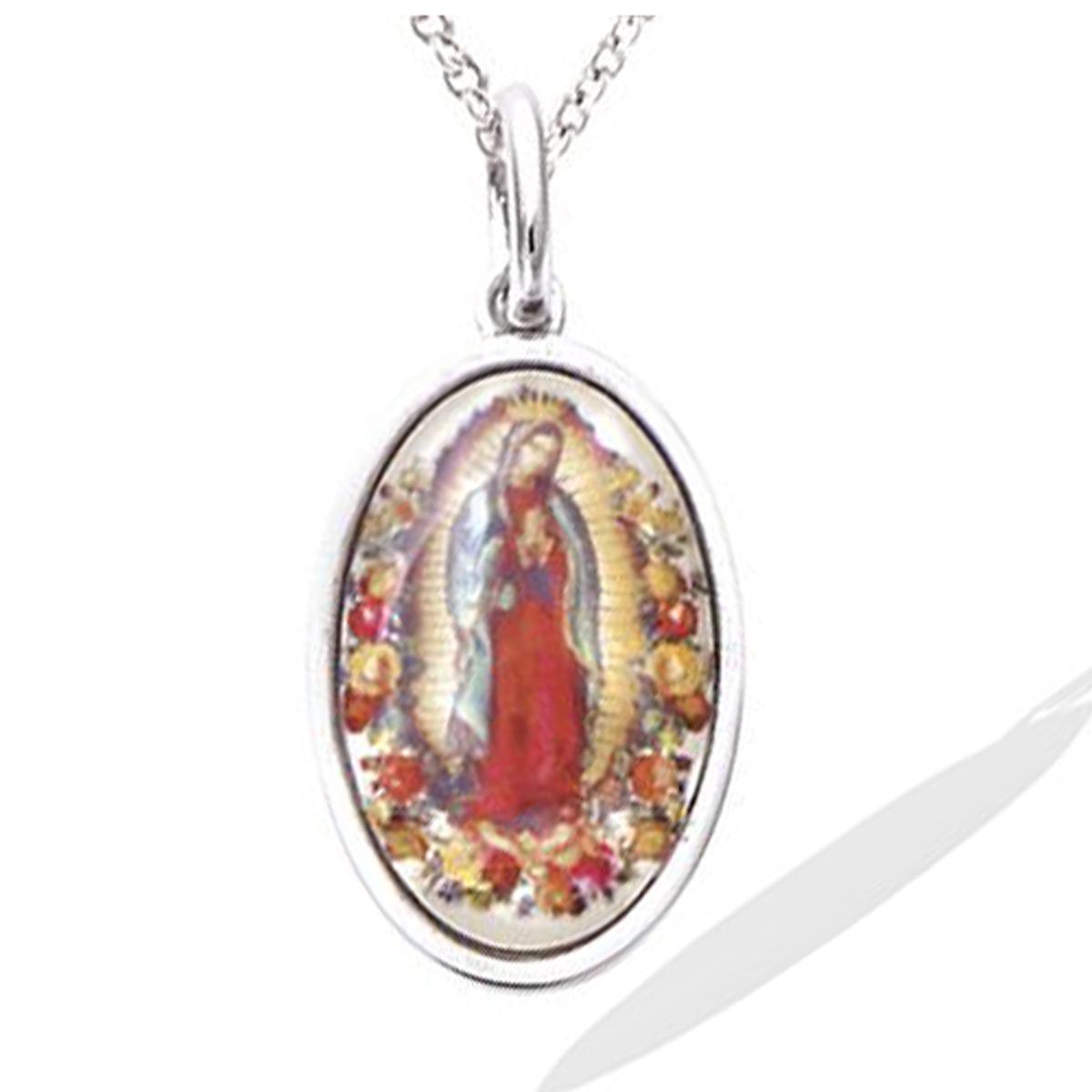 Pendentif argent \'Vierge Marie\' multicolore argenté (rhodié) - 18x12 mm - [R4186]