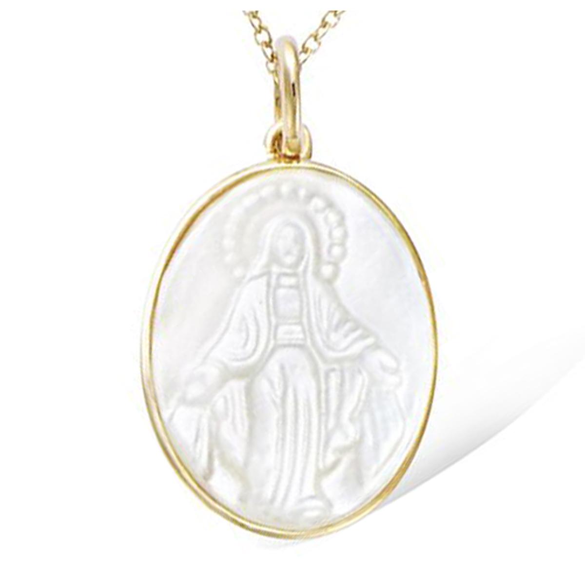 Pendentif plaqué or \'Vierge Marie\' blanc nacre doré - 22x17 mm - [R4234]