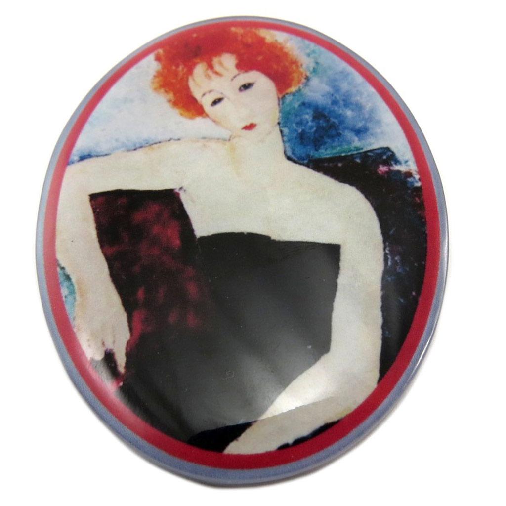 Broche artisanale \'Mistinguette\' (Modigliani) - 65x48 mm - [P6975]