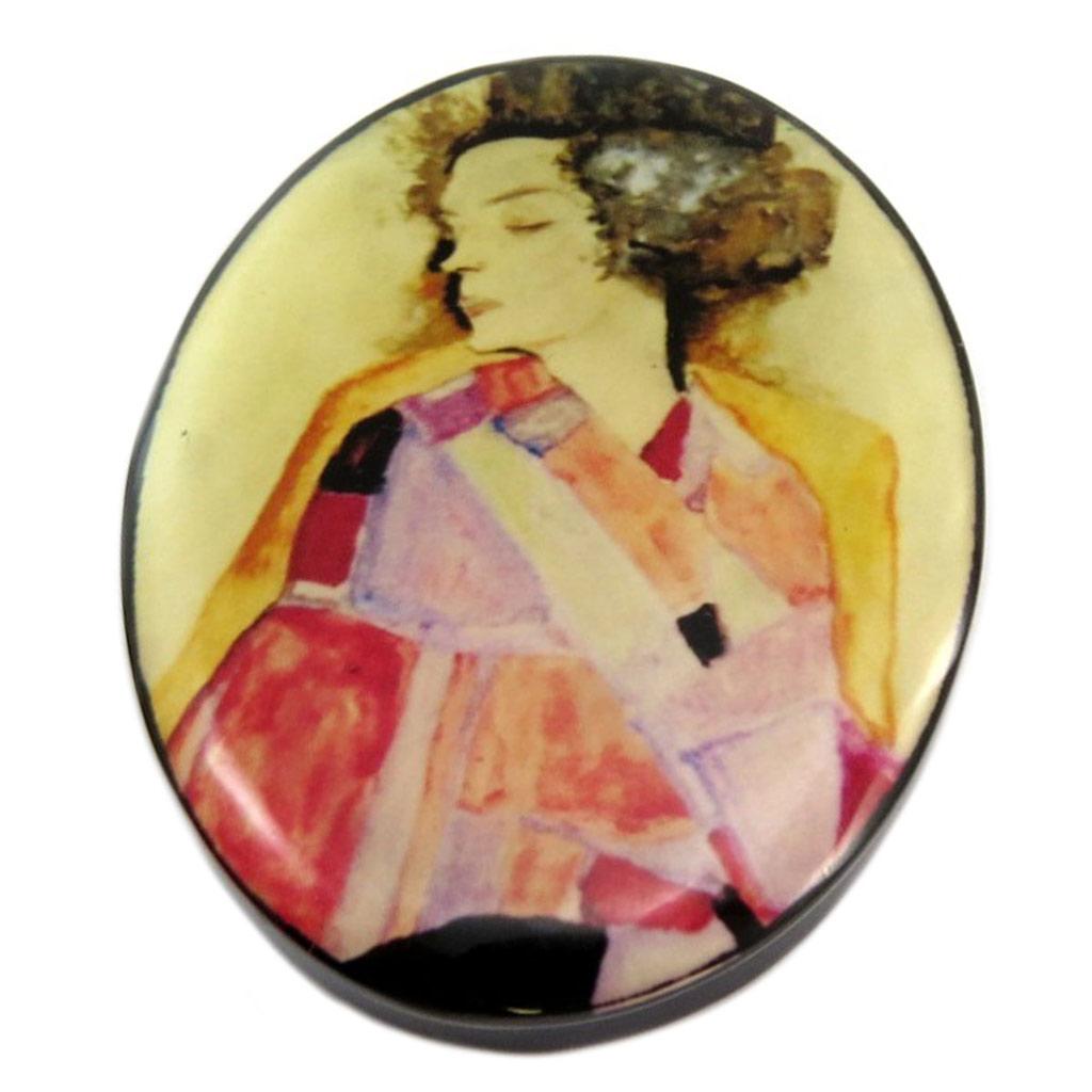 Broche artisanale \'Mistinguette\' (Schiele) - 65x48 mm - [P6976]