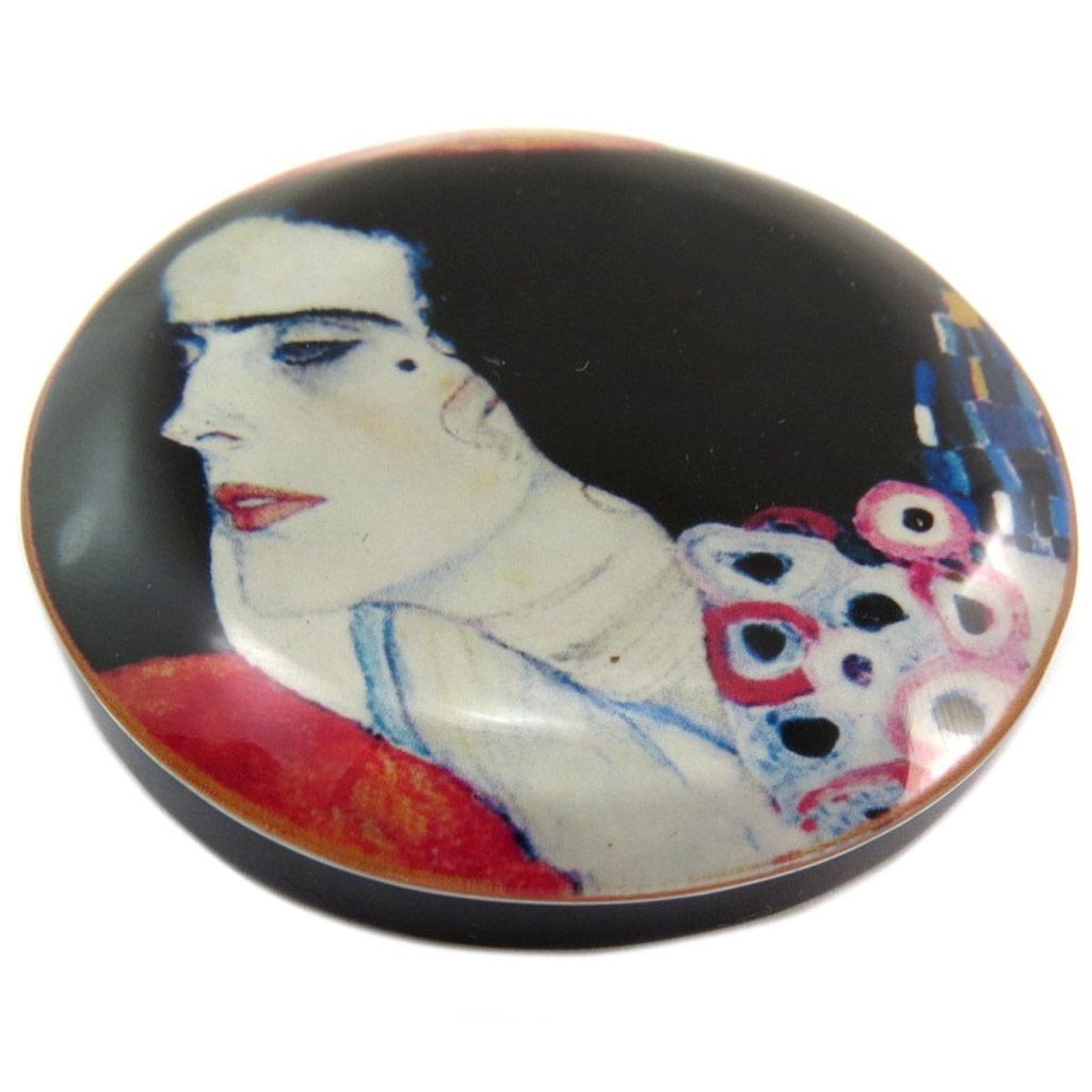 Broche artisanale \'Mistinguette\' (Schiele) - 55 mm - [P6978]