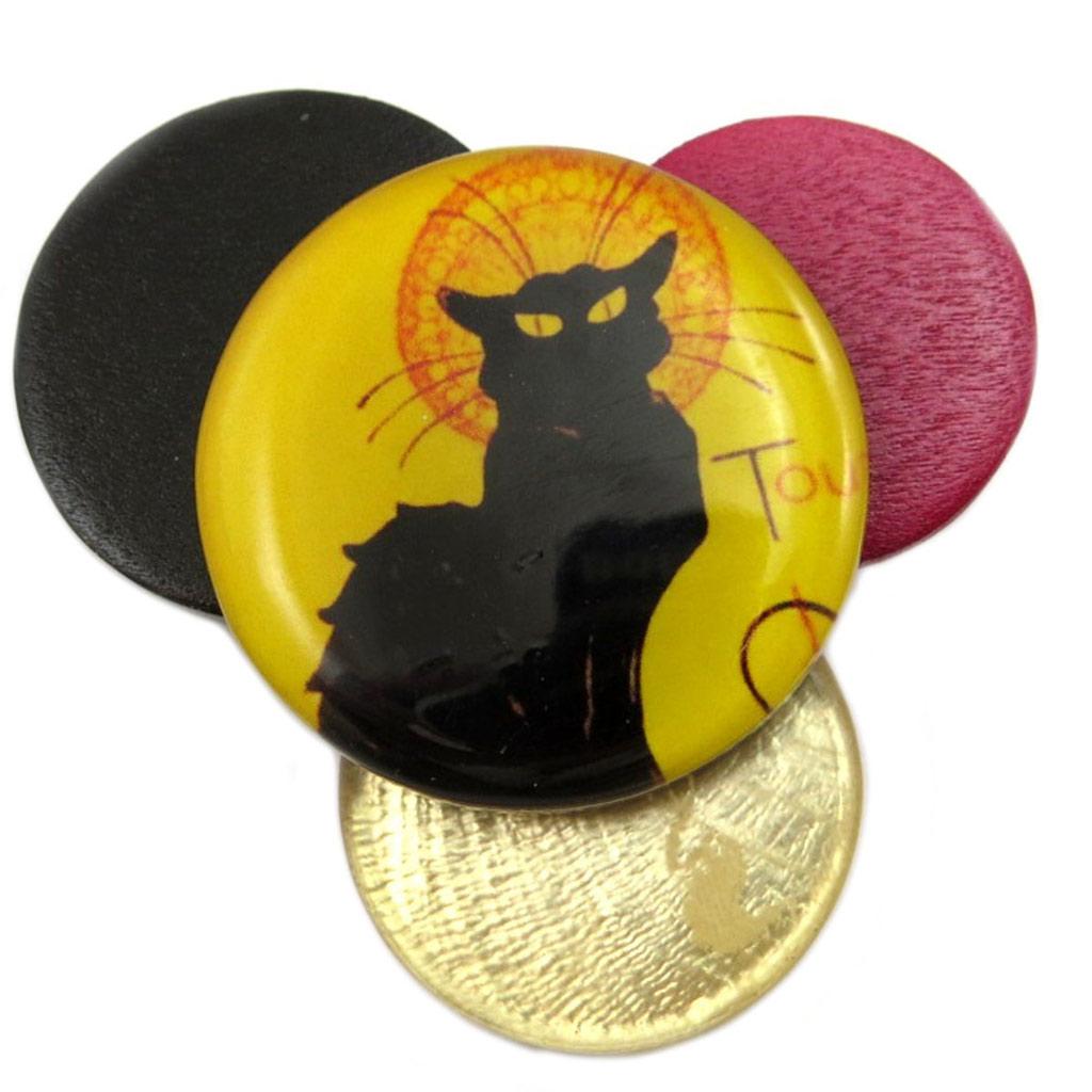 Broche artisanale \'Mistinguette\' (Chat noir de Rodolphe Salis) - 58x50 mm - [P6982]