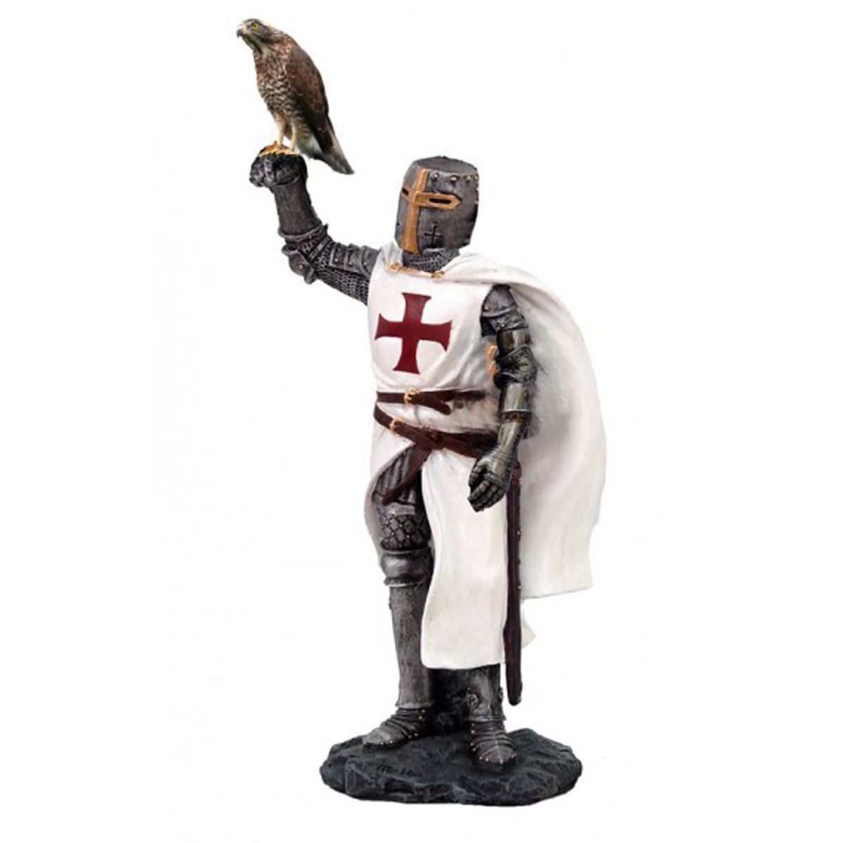 Figurine \'Chevalier Templier Croisé\' blanc gris (faucon) - 205 cm - [R2803]