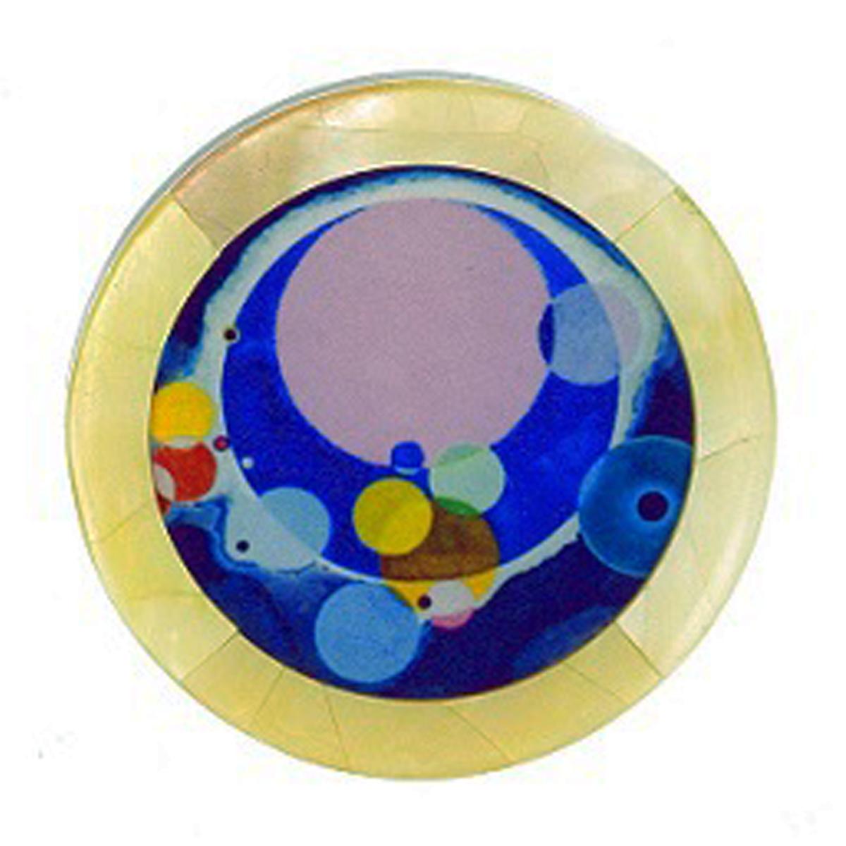 Broche artisanale \'Mistinguette\' bleu - 50 mm - [R4257]