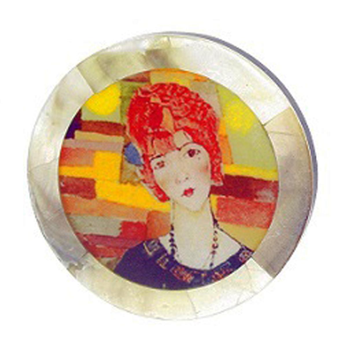 Broche artisanale \'Mistinguette\' rouge multicolore - 50 mm - [R4258]