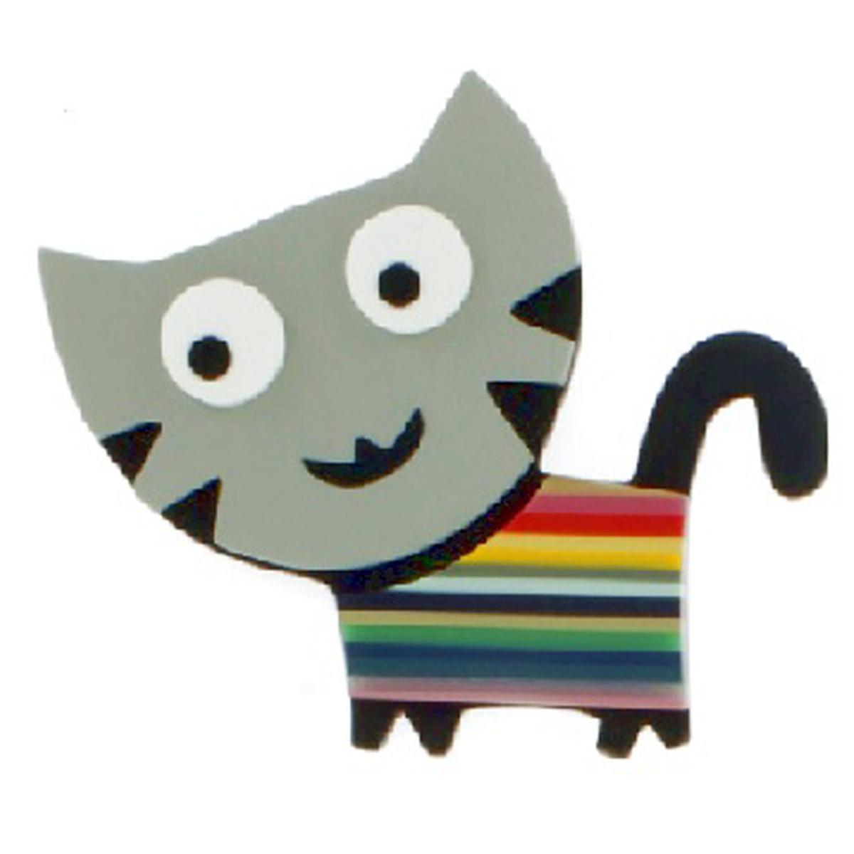 Broche artisanale \'Mistinguette\' gris multicolore (chat) - 90x75 mm - [R4260]