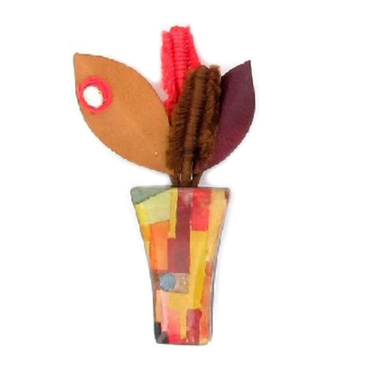 Broche artisanale \'Mistinguette\' rouge jaune (pot de fleurs) - 90x50 mm - [R4271]