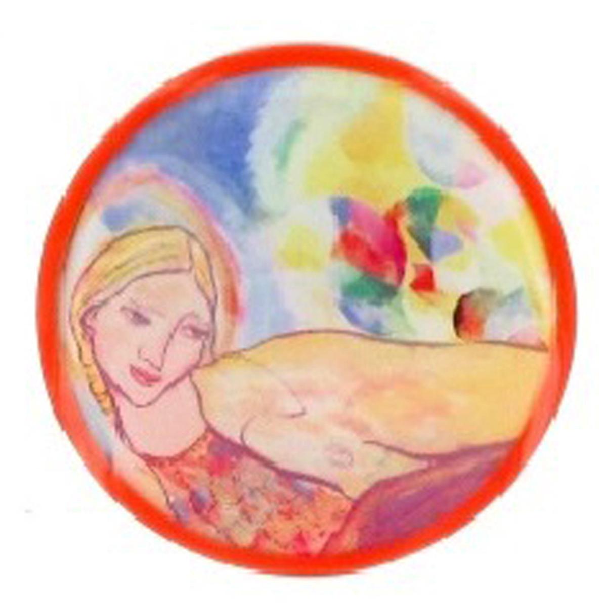 Broche artisanale \'Mistinguette\' orange multicolore - 60 mm - [R4272]