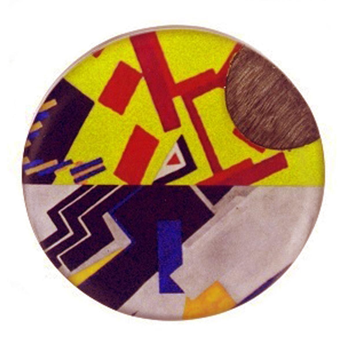 Broche artisanale \'Mistinguette\' jaune bleu gris - 50 mm - [R4273]