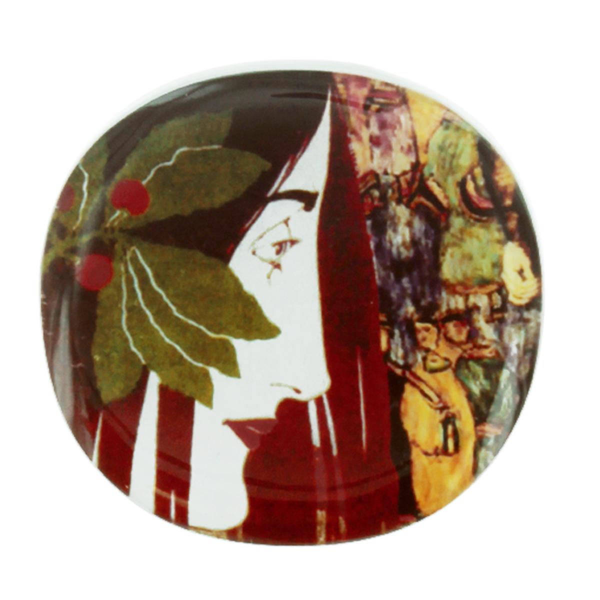 Broche artisanale \'Mistinguette\' rouge vert - 55x52 mm - [R4274]