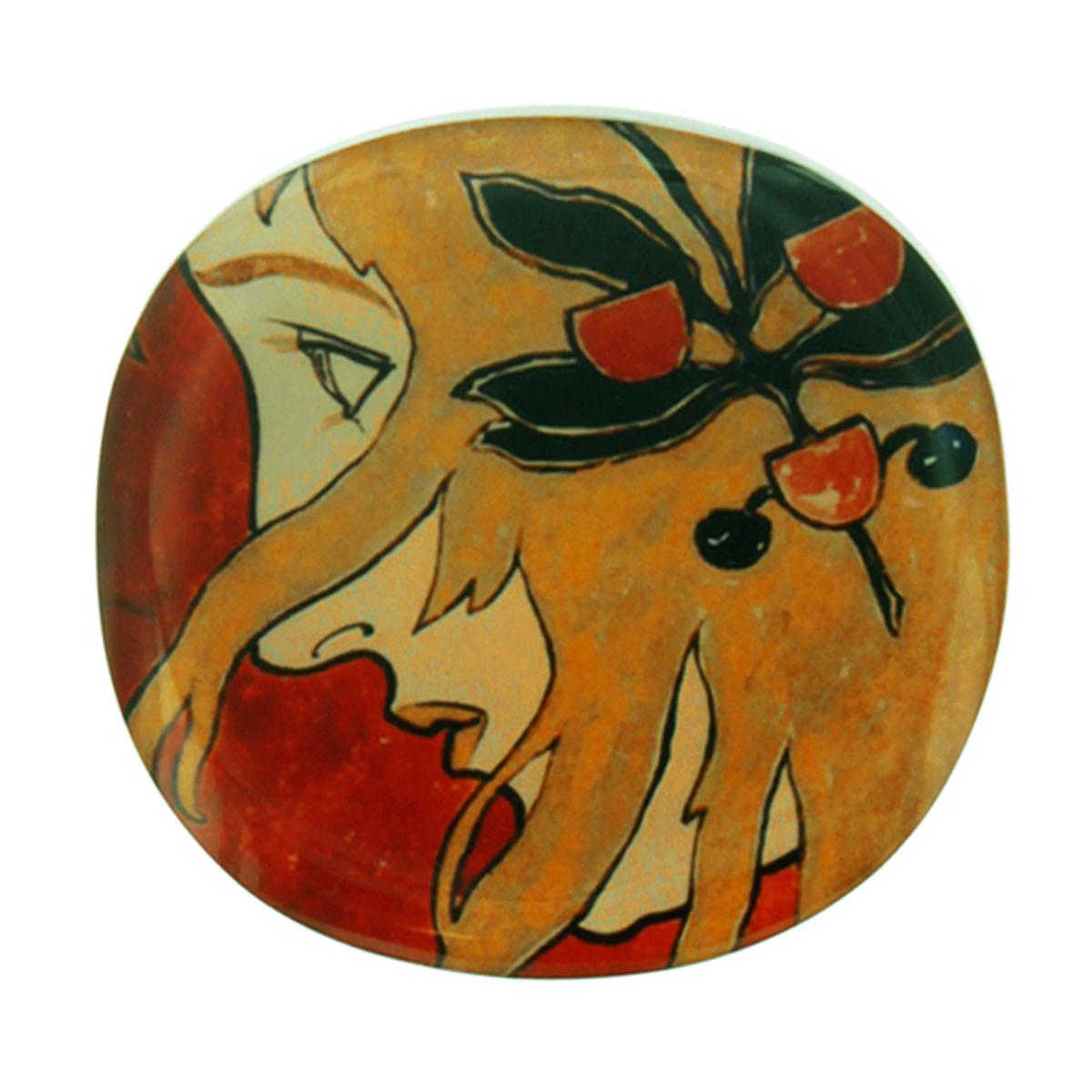 Broche artisanale \'Mistinguette\' rouge marron - 55x52 mm - [R4275]