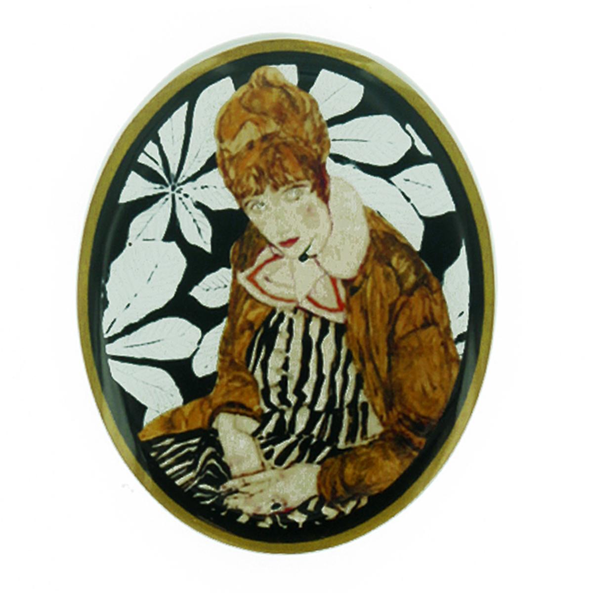 Broche artisanale \'Mistinguette\' marron gris noir - 60x48 mm - [R4276]