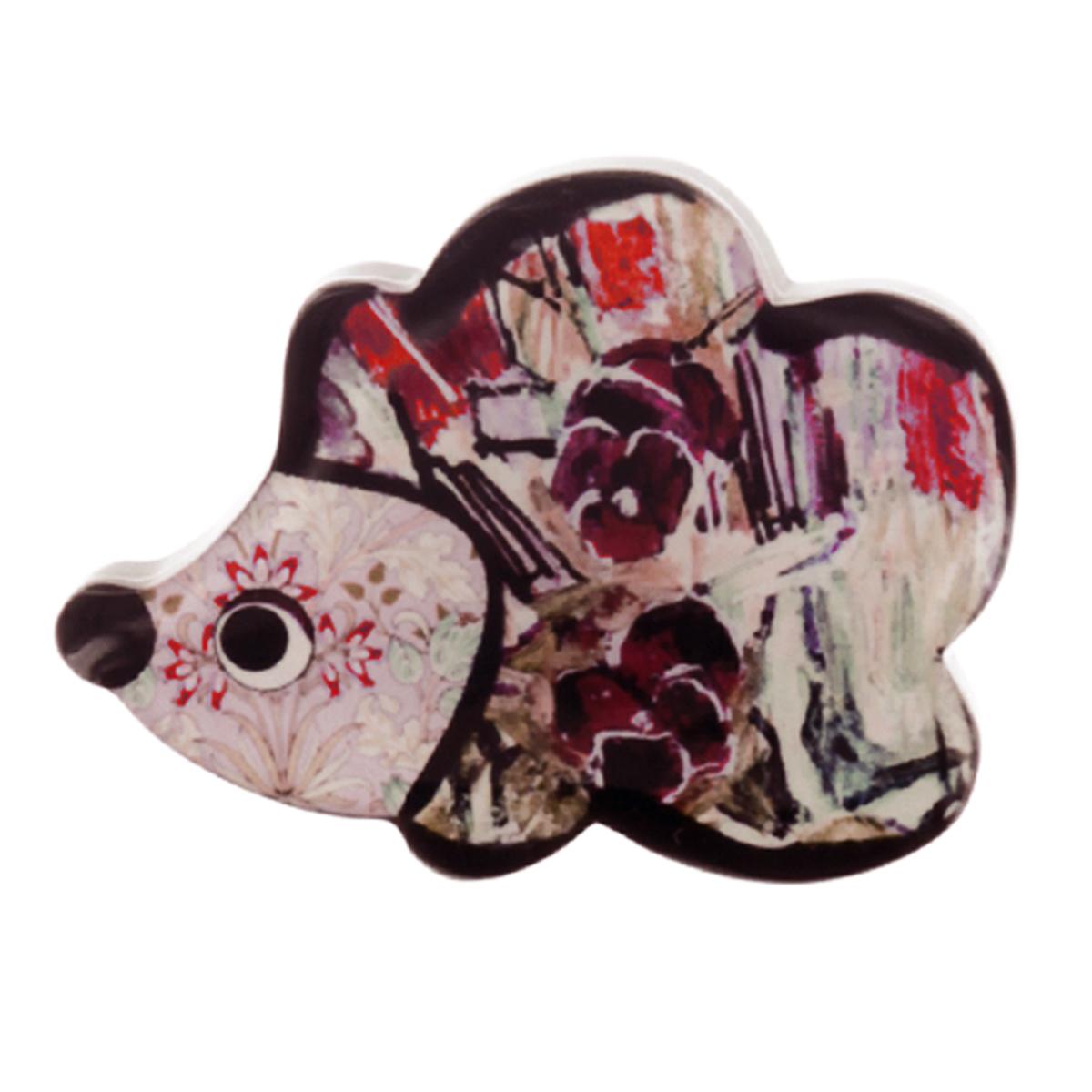 Broche artisanale \'Mistinguette\' rose gris (hérisson) - 60x45 mm - [R4278]