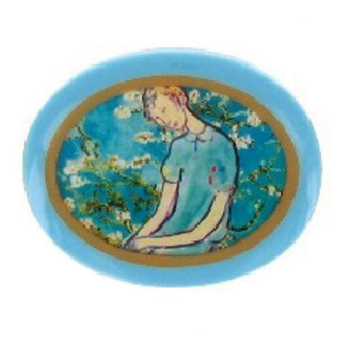 Broche artisanale \'Mistinguette\' turquoise - 55x45 mm - [R4281]