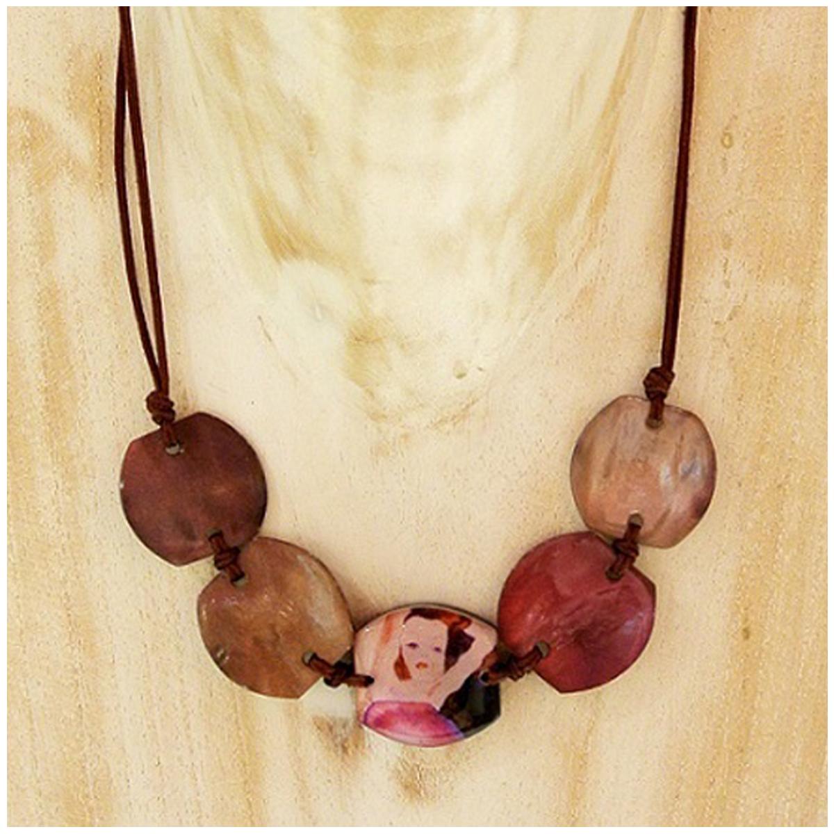 Collier artisanal \'Mistinguette\' violet marron - 28 mm - [R4304]