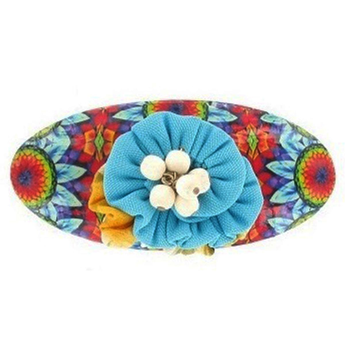 Barrette artisanale \'Mistinguette\' turquoise multicolore - 90x40 mm - [R4329]