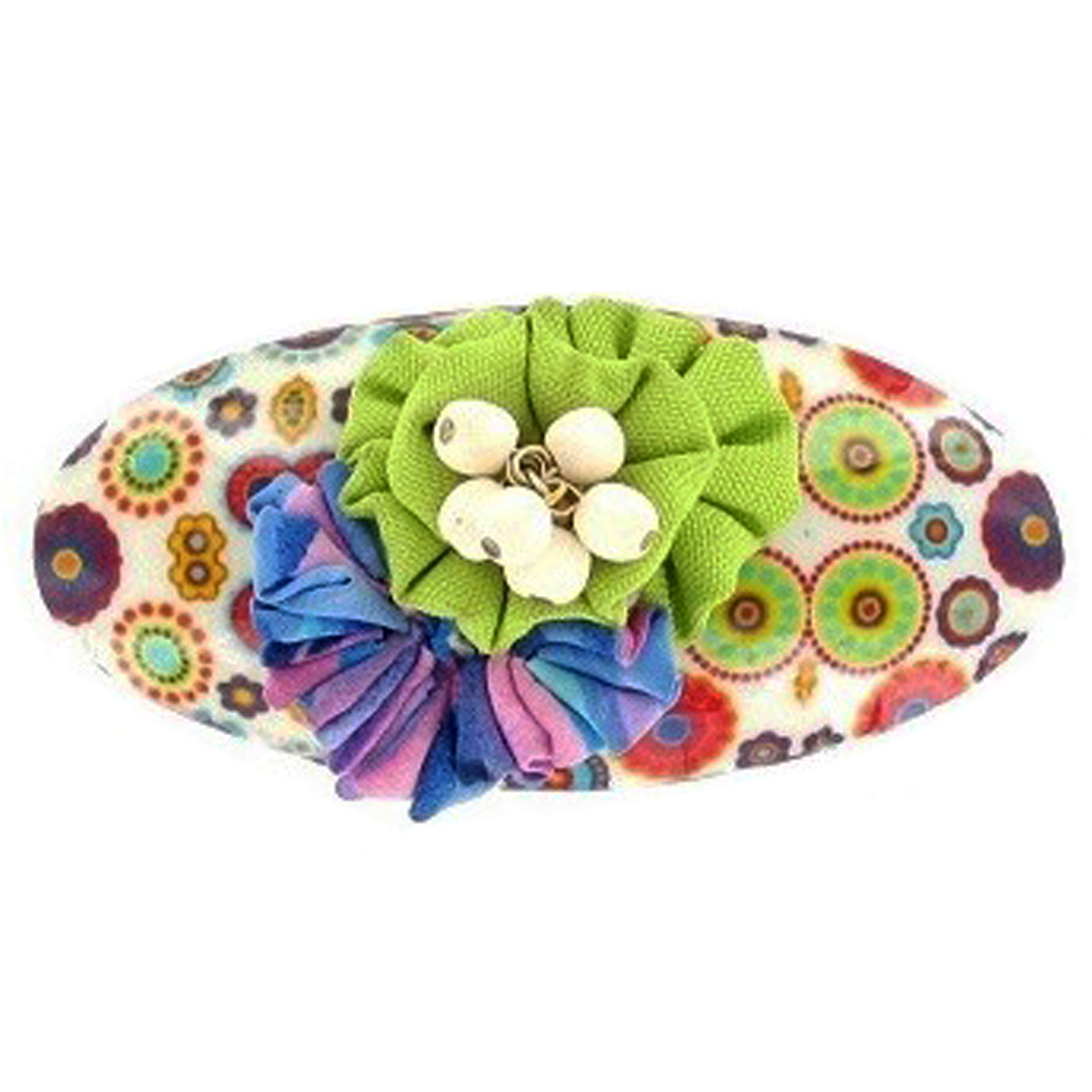 Barrette artisanale \'Mistinguette\' vert multicolore - 90x40 mm - [R4332]