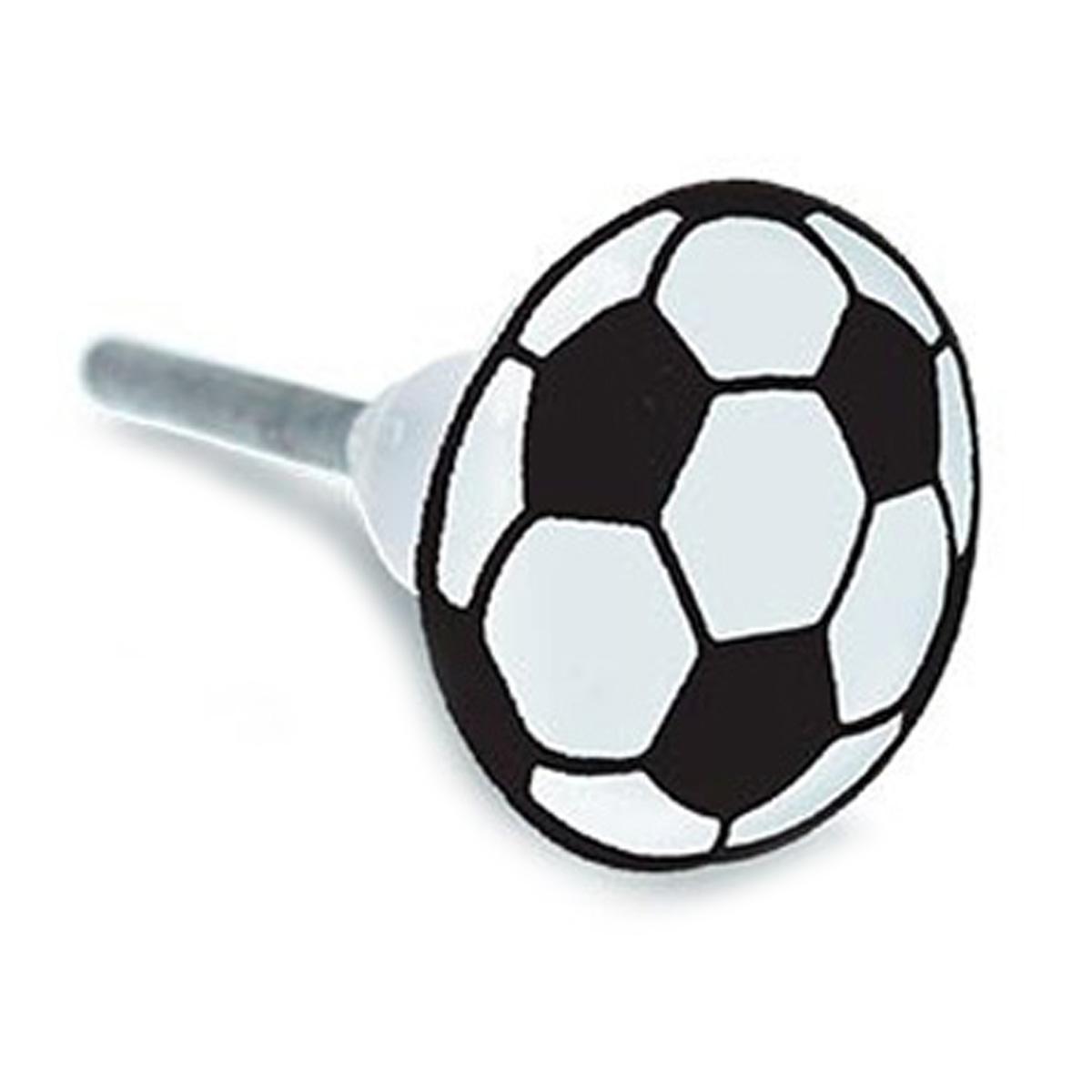 Bouton meuble céramique \'Football\' noir blanc - 65x35 mm - [A2187]