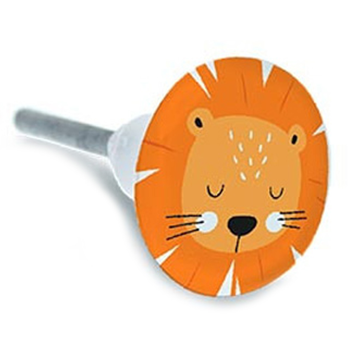 Bouton meuble céramique \'Lion\' orange blanc - 65x35 mm - [A2191]