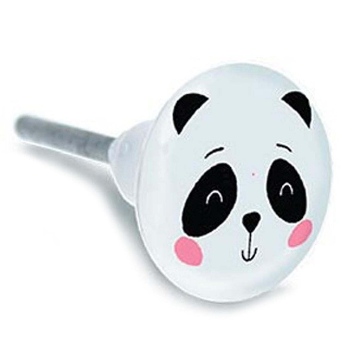Bouton meuble céramique \'Panda\' noir blanc - 65x35 mm - [A2193]