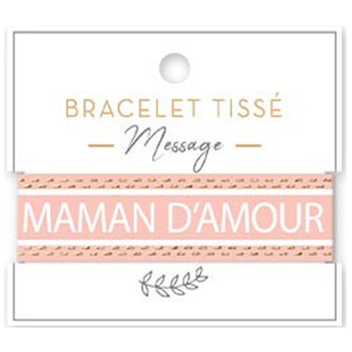Bracelet tissu \'Maman d\'Amour\' rose blanc - 20 mm - [A2204]